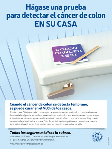 Test Yourself For Colon Cancer At Home Poster Spanish Massachusetts Health Promotion Clearinghouse