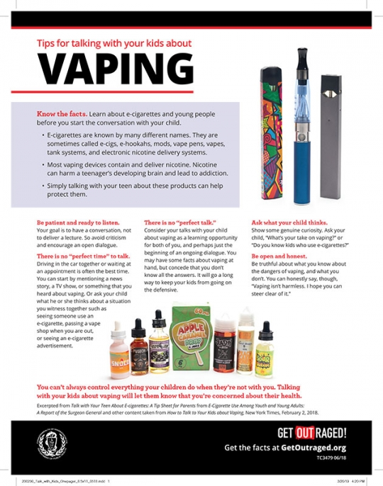 How to Talk With Your Kids About Vaping Fact Sheet - English